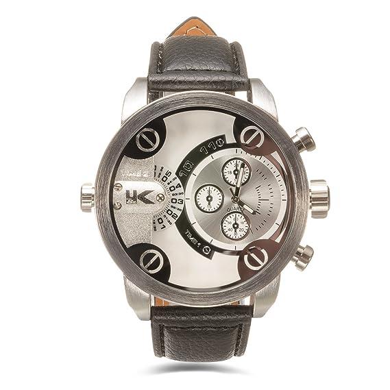 Yaki Hombre Modelos cuarzo Relojes de moda reloj de pulsera Cronógrafo Calendario Fecha Analog marcas Relojes Hombres Negro Piel de banda: Amazon.es: ...