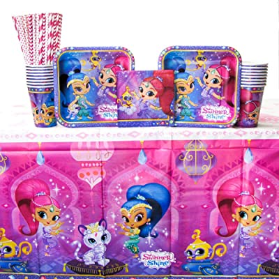 Shimmer and Shine Party Supplies Pack for 16 Guests | 24 Paper Straws, 16 Dessert Plates, 16 Beverage Napkins, 16 Paper Cups, and 1 Table Cover | Great Birthday Party Supplies for a Little Girl!: Toys & Games