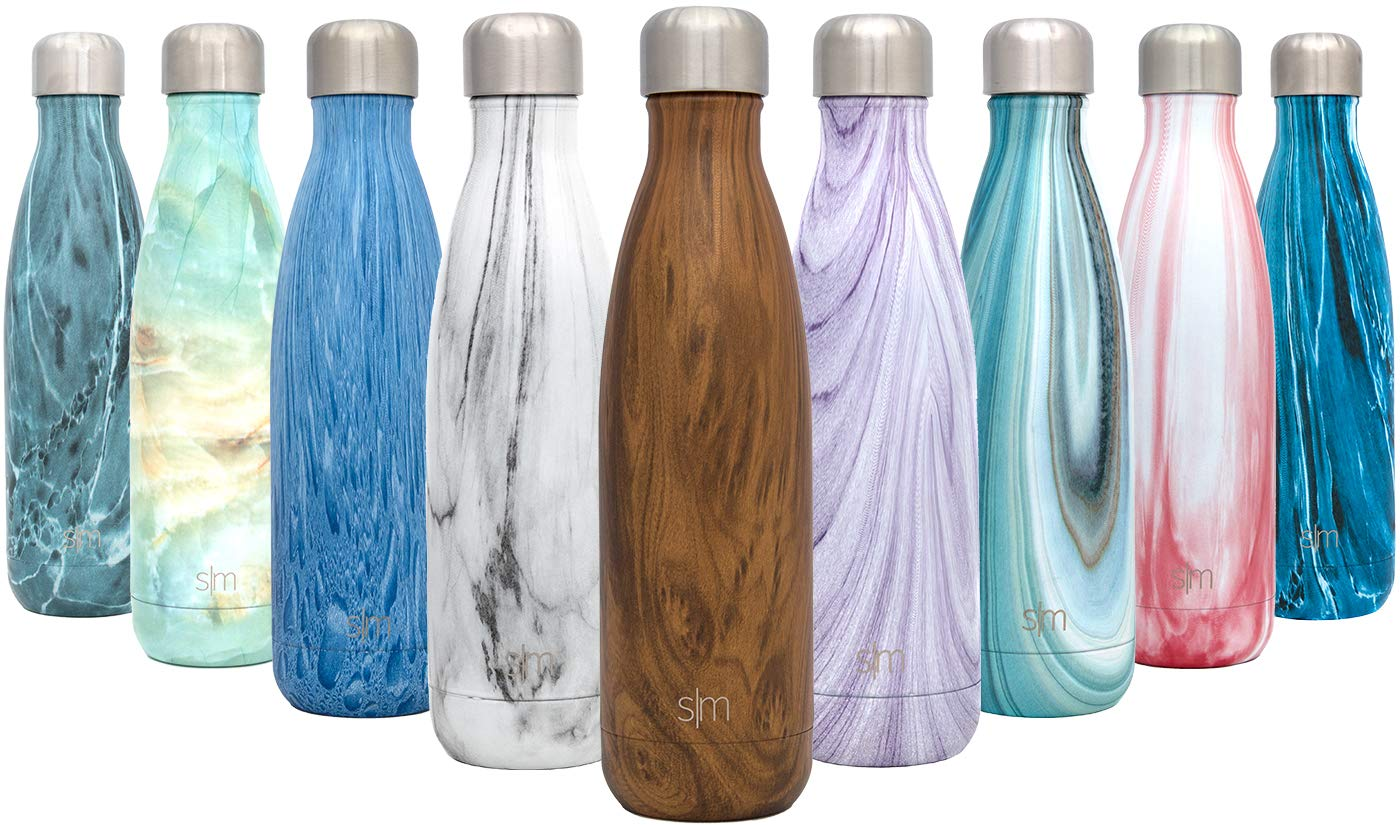 Simple Modern 25 oz Wave Water Bottle - Stainless Steel Hydro Swell Flask - Wide Mouth Double Wall Vacuum Insulated Metal Reusable Small Kids Coffee Leakproof Thermos - Wood Grain