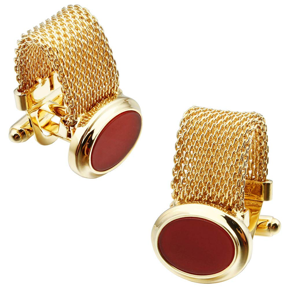 HAWSON Mens Cufflinks with Chain - Red Agent Stone and Shiny Gold Tone Shirt Accessories - Party Gifts for Young Men (Orange)