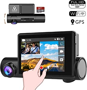 "Matego Dual 1080P WiFi Dash Cam with 3.0"" Touchscreen Front and Interior Car Dashboard Camera GPS Driving Recorder with Sony STARVIS Night Vision, Super Capacitor, Motion Detection, G-Sensor, WDR"