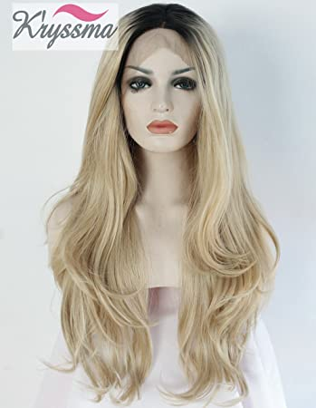 7225718b89f56b K'ryssma Ombre Blonde Synthetic Lace Front Wigs For Black Women,2 Tone Color