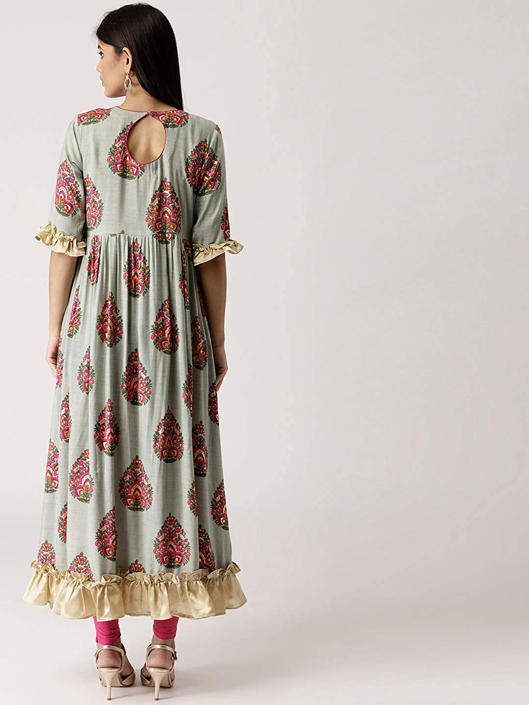 8c1f5c75ca Amazon.com: Leda Grey Printed Indian Pakistani Kurtis Ethnic Kurti Women  Dress: Clothing