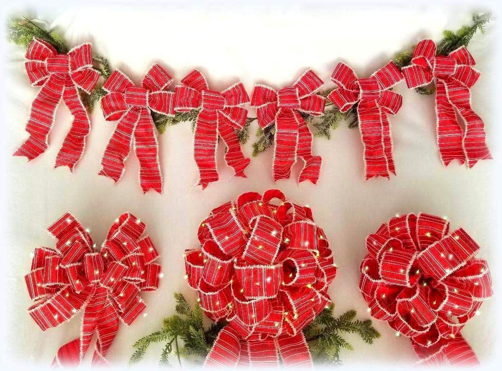 Christmas Tree Topper Bow Set   Set of 9 Bows   3 LARGE LED Lit Bows w/Lights & 6 Matching Unlit 8