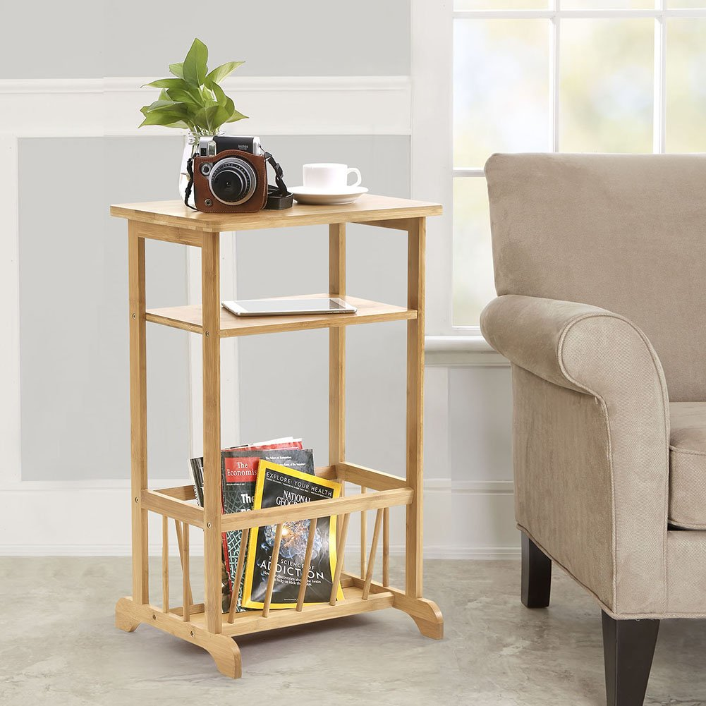 3 Tier Sofa Side Table, Bamboo Telephone Coffee End Table with Storage Basket Multifunctional Bamboo Beside Table, 17.6 x 12.6 x 28.1 inches