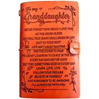 """to Granddaughter Leather Journal- Laugh - Love - Live   Refillable Paper 7.9""""x4.7"""" Best Christmas, Graduation,Birthdays…"""