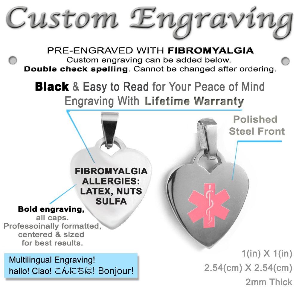 Pink Red Millefiori Glass Pre-Engraved /& Customized Fibromyalgia Charm Medical Bracelet My Identity Doctor
