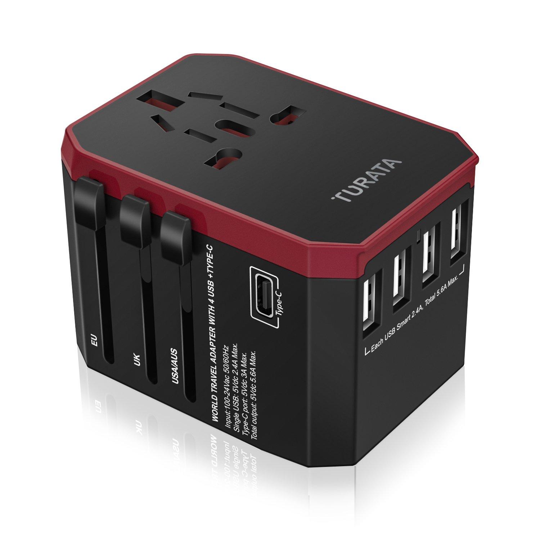 TURATA Adattatore universale da viaggio, 4 porte USB per US/EU / UK/AU in oltre 150 paesi LEMEGO