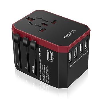 Adaptador de viaje universal Enchufe USB, 5 puertos Cargador todo en una pared con 3.0A Tipo C y 5.6A 4 Puertos inteligentes USB, Enchufes de CA / ...