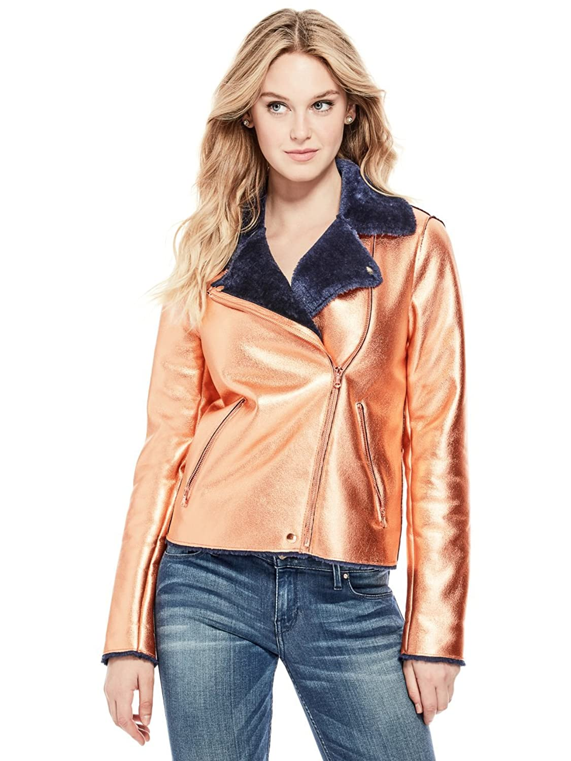 GUESS Womens Gemma Metallic Jacket