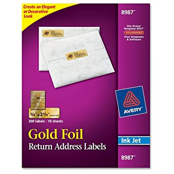 Amazon.com : Avery Foil Mailing Labels, 3/4 x 2-1/4, Gold, 300 ...