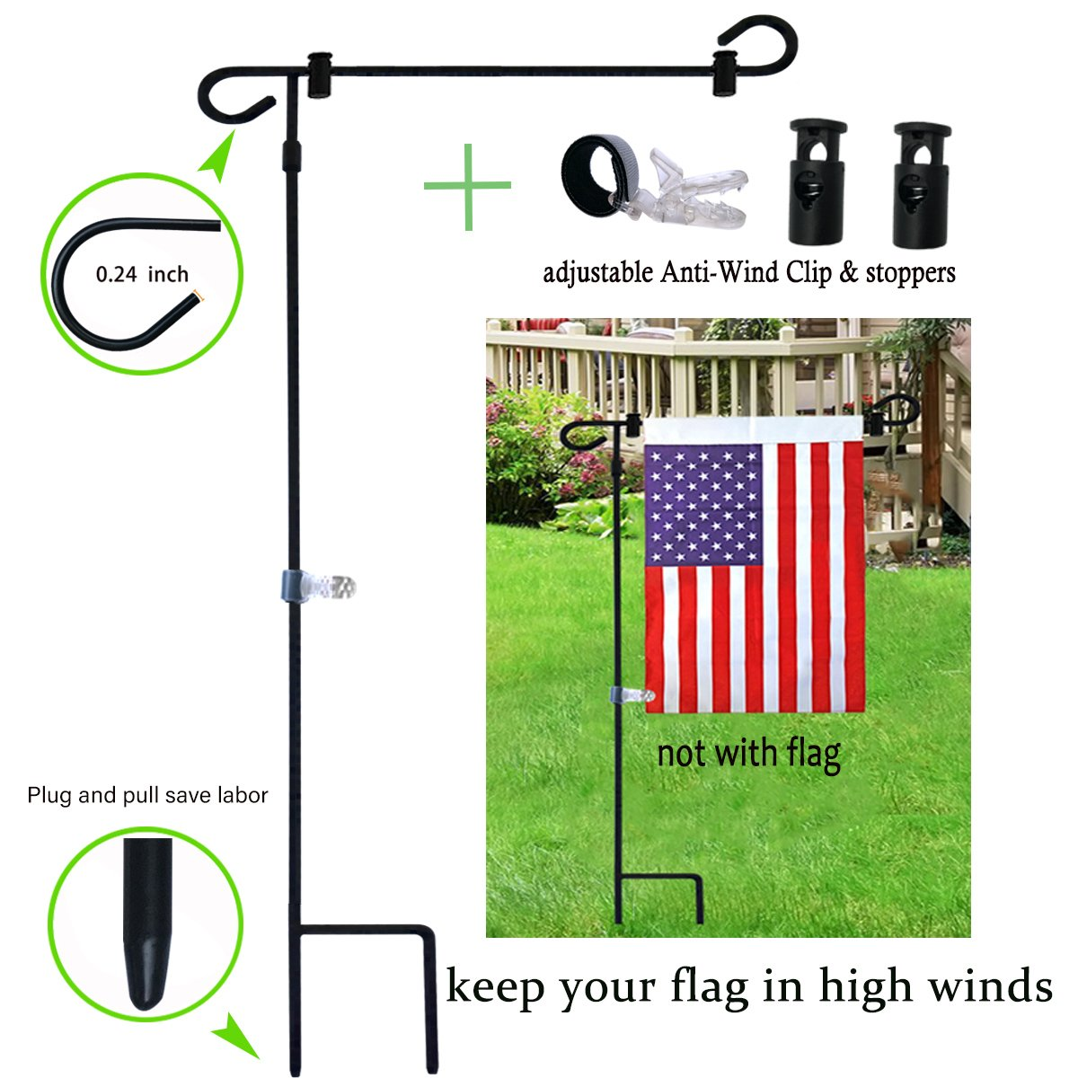 W&X Garden Flag Stand-Holder-Pole with Stopper and Anti-Wind Clip Powder-Coated Water-Proof Paint 36.3'' H x 16.5'' W Keep Your Flags from Flying Away in High Winds