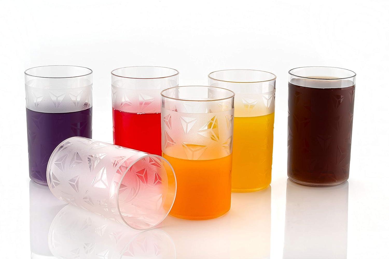 MATIC HOUSEWARE 6 Pcs. Unbreakable Plastic Diamond Design Drinking Glass/Juice Glass/Beer Glass/Wine Glass Glass Set ( 250 ML, Pack of 6)