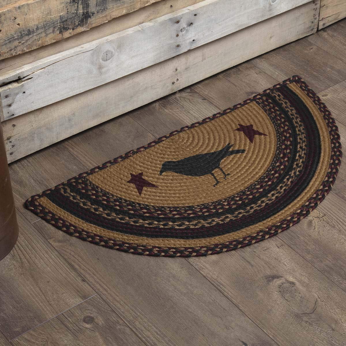 VHC Brands 37900 Primitive Flooring-Heritage Farms Tan Crow Half Circle Jute Rug, 1 4.5 x 2 9 , Mustard Yellow
