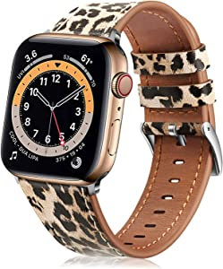 Fintie Bands Compatible with Apple Watch 40mm 38mm Series 6 5 4 3 2 1 and iWatch SE, Genuine Leather Band Replacement Accessories Strap Wristband, Classic Leopard