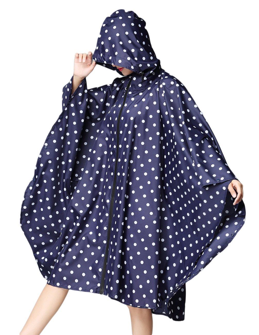 Buauty Womens Hooded Zip Up Waterproof Active Outdoor Rain Jacket Raincoats Lightweight Poncho Plus Size