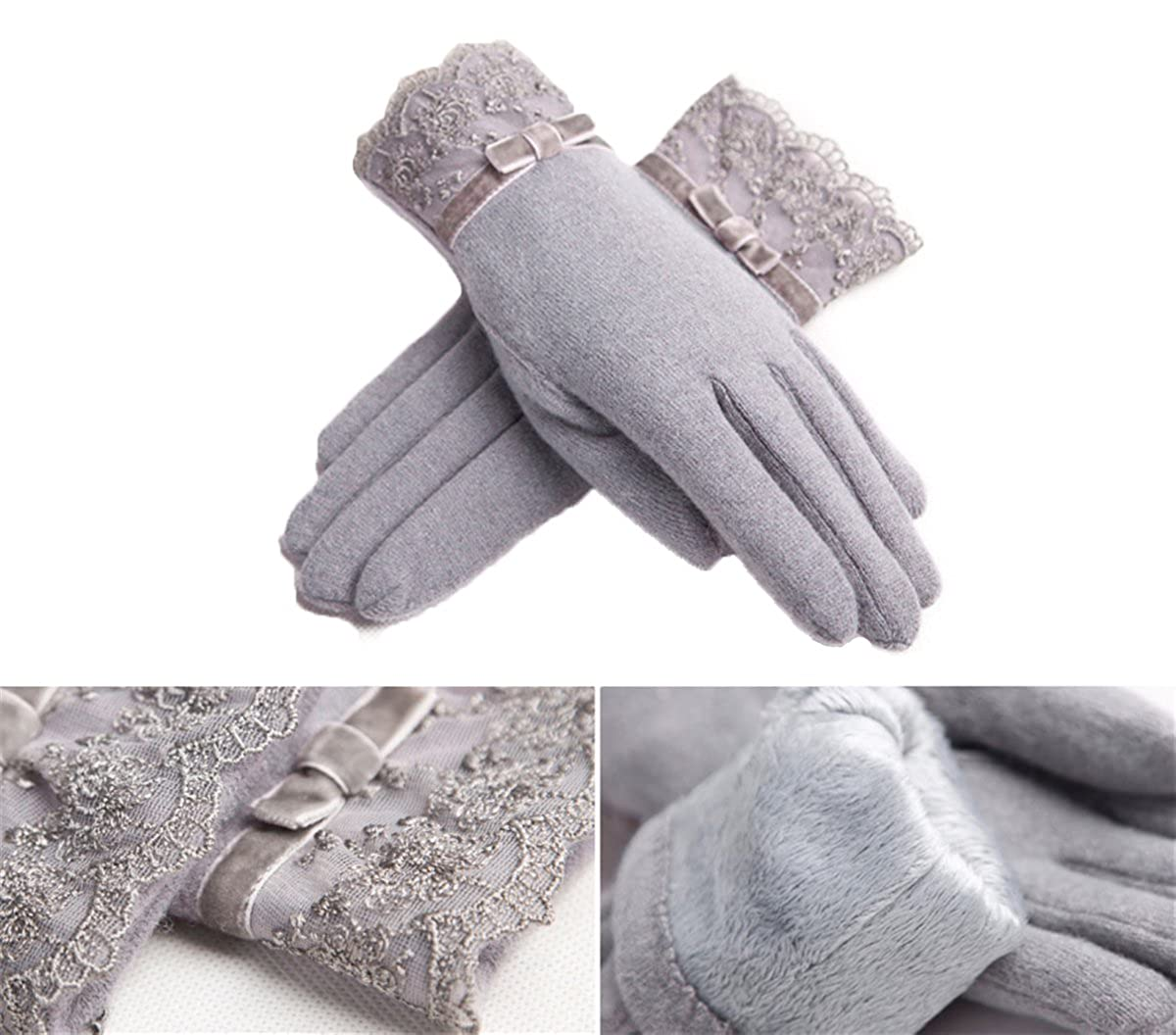 Apparelsales Womens Winter Double Layer Warm Fleece Gloves Mittens with Lace Smoke Grey Lindaeshop