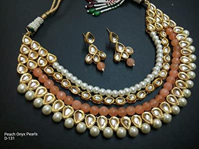 Traditional Pearl Beaded Kundan Necklace Set Indian Bollywood Women Bridal Jewelry K9Spy6
