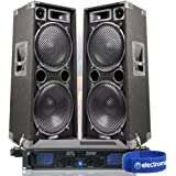 """2x Max Dual 12"""" PA Speakers Disco Party Sound System DJ Amplifier Amp 2000W"""