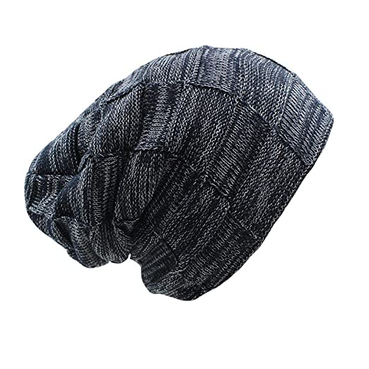 6e1a9354454 qlskf Men Winter Knit Warm Unisex Women Adult Hat Thick Cap Wool Blue