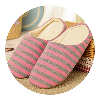 ee447774a18 Slipper Women Striped Bottom Soft Home Slippers Warm Cotton Shoes