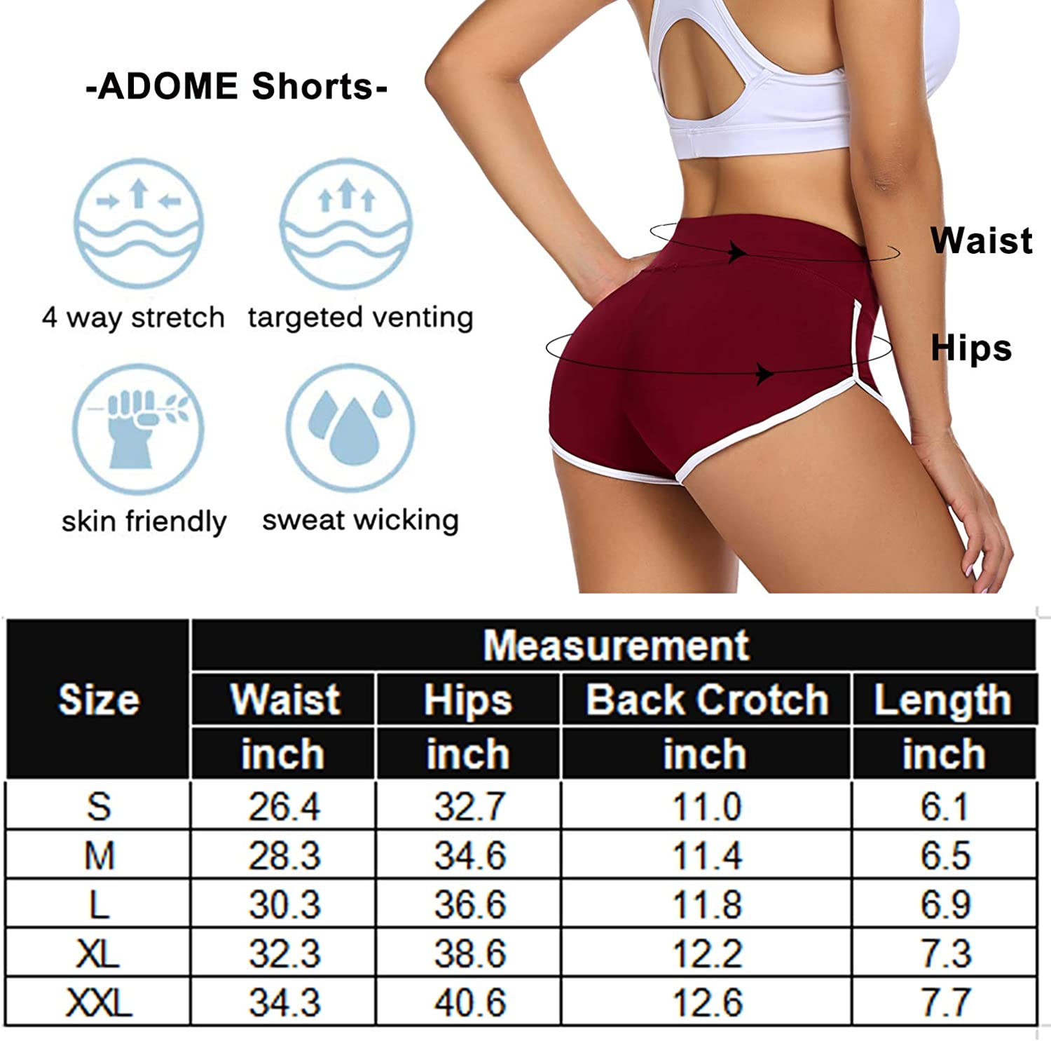 ADOME Women's Active Shorts Fitness Sports Yoga Booty Shorts for Running Gym Workout: Clothing