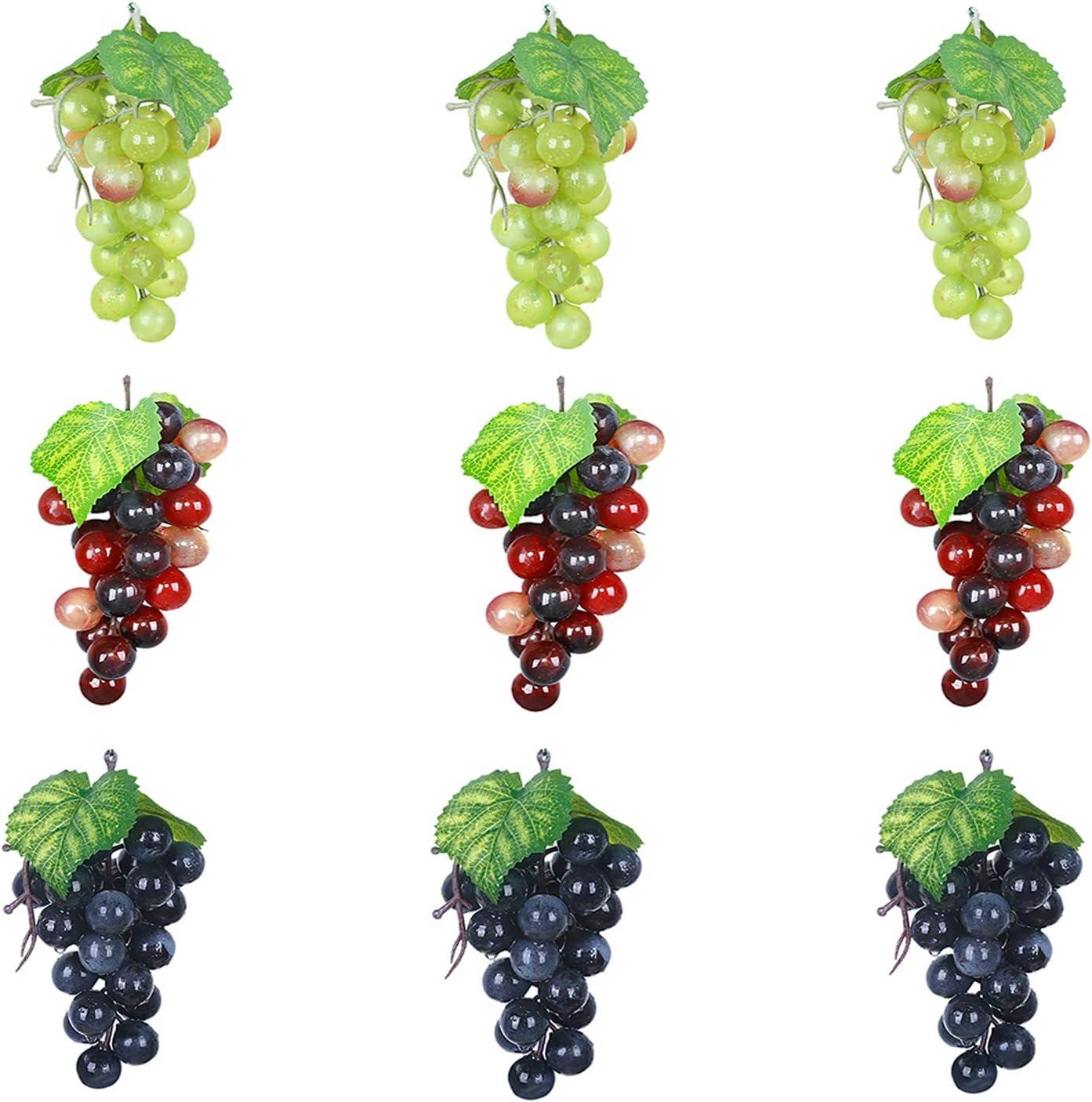 Amazon Com Outgeek Artificial Grapes Mini Grape Clusters Rubber Fake Bundles Decorative Hanging Ornaments For Vintage Wedding Favor Fruit Wine Decor Faux Props Home Kitchen