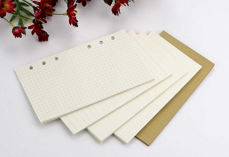 Binder Zipper Pocket 2pcs+Binder Name Card Pocket 2 pcs+100 Sheets of Paper A6 6-Ring Binder Folder Cover 1pcs//6 Index Divider Tabs
