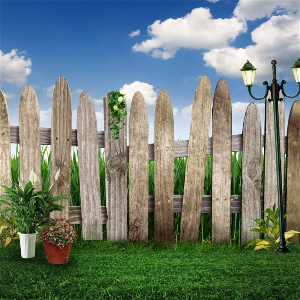 AOFOTO 10x10ft Old Wooden Fence with Green Grass Photography Background Spring Garden Meadow Backdrop Blue Sky Retro Road Lamp Lovers Girl Kid Baby Boy Artistic Portrait Photo Studio Props Wallpaper