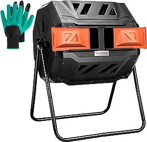 VIVOSUN Outdoor Tumbling Composter Dual Rotating Batch Compost Bin, Orange Door