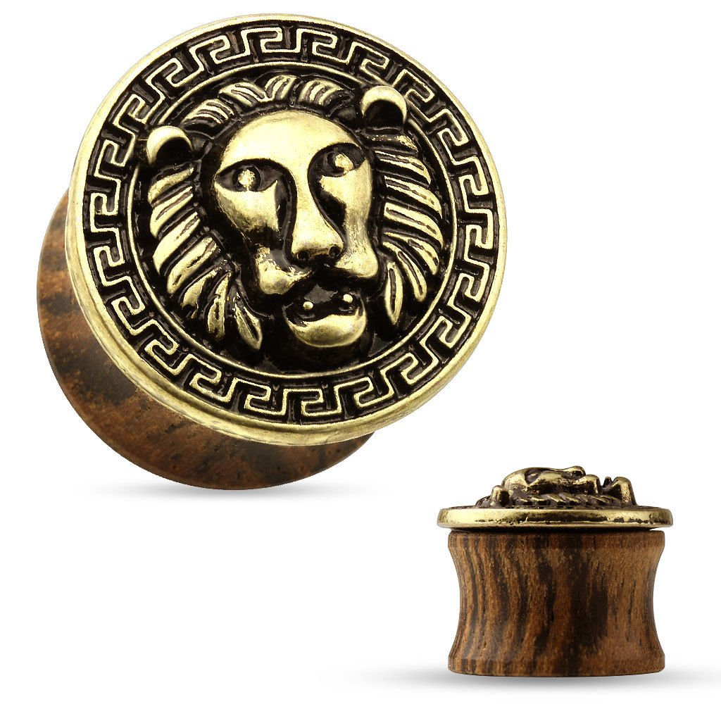 PAIR Antique Gold Lion with Maze Pattern Rim Wood Saddle Plugs Body Jewelry (0g (8mm))