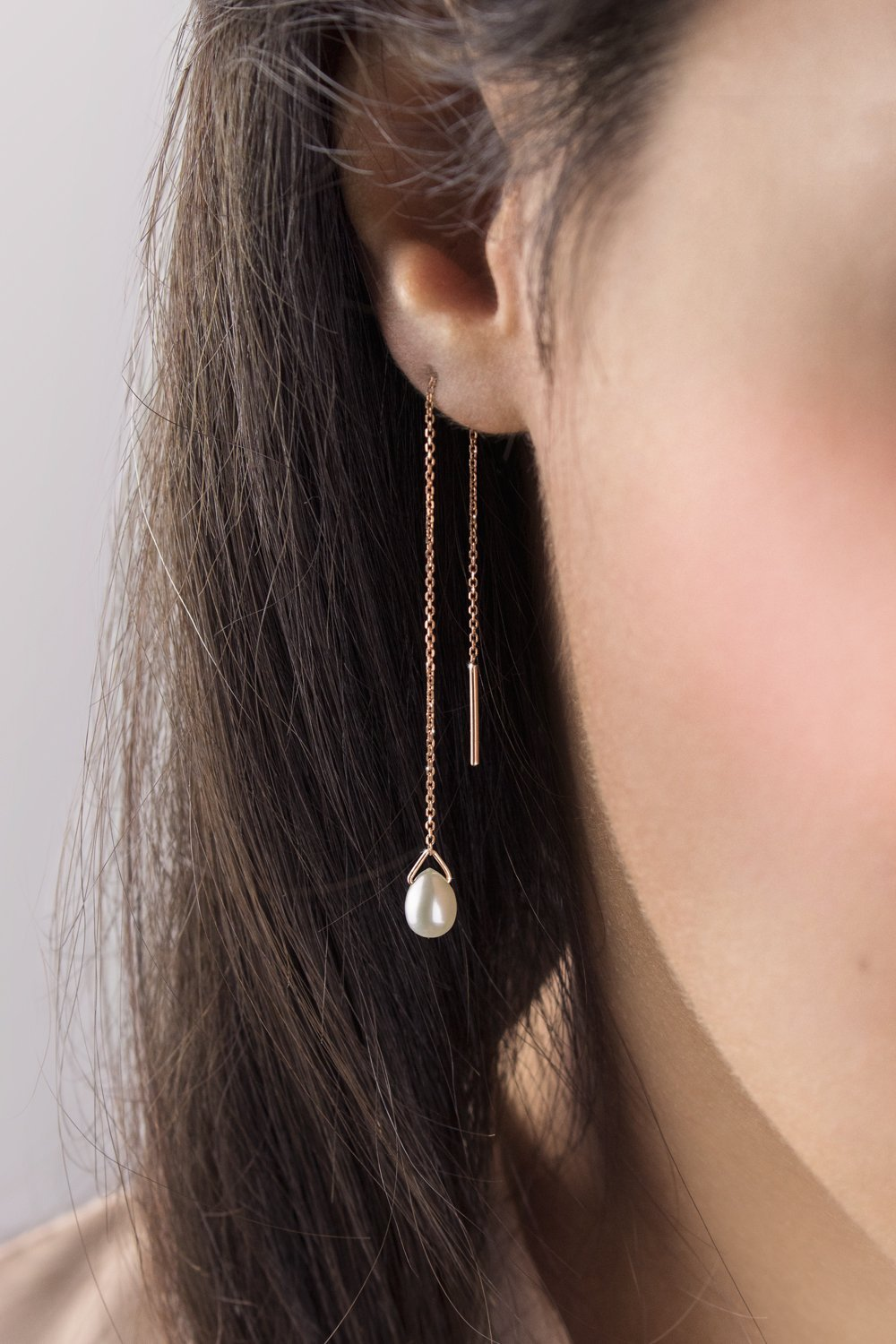 Pearl Threader Earrings, 9K, 14K, 18K Gold Earrings, Rose Gold Threaders, Gold Chain Earrings, June Birthstone, White Pearl Birthstone Earrings