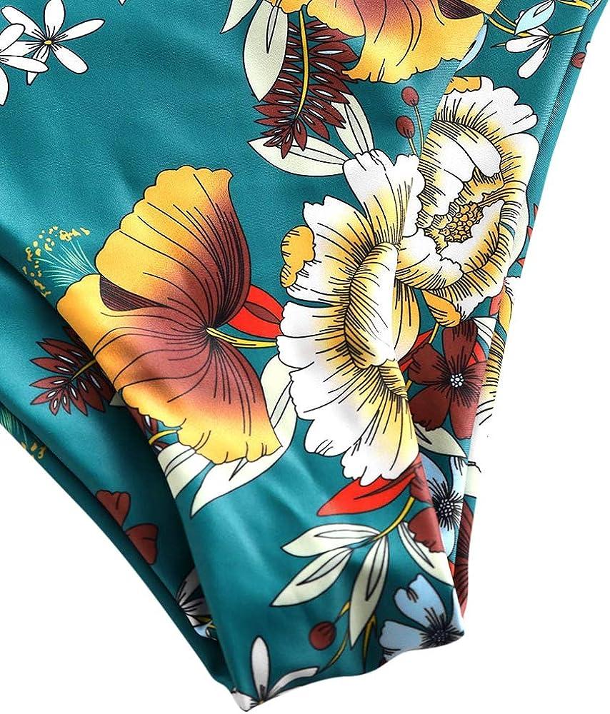 ZAFUL Damen Streifen Knot Floral High Waisted Tankini Set Badeanzug