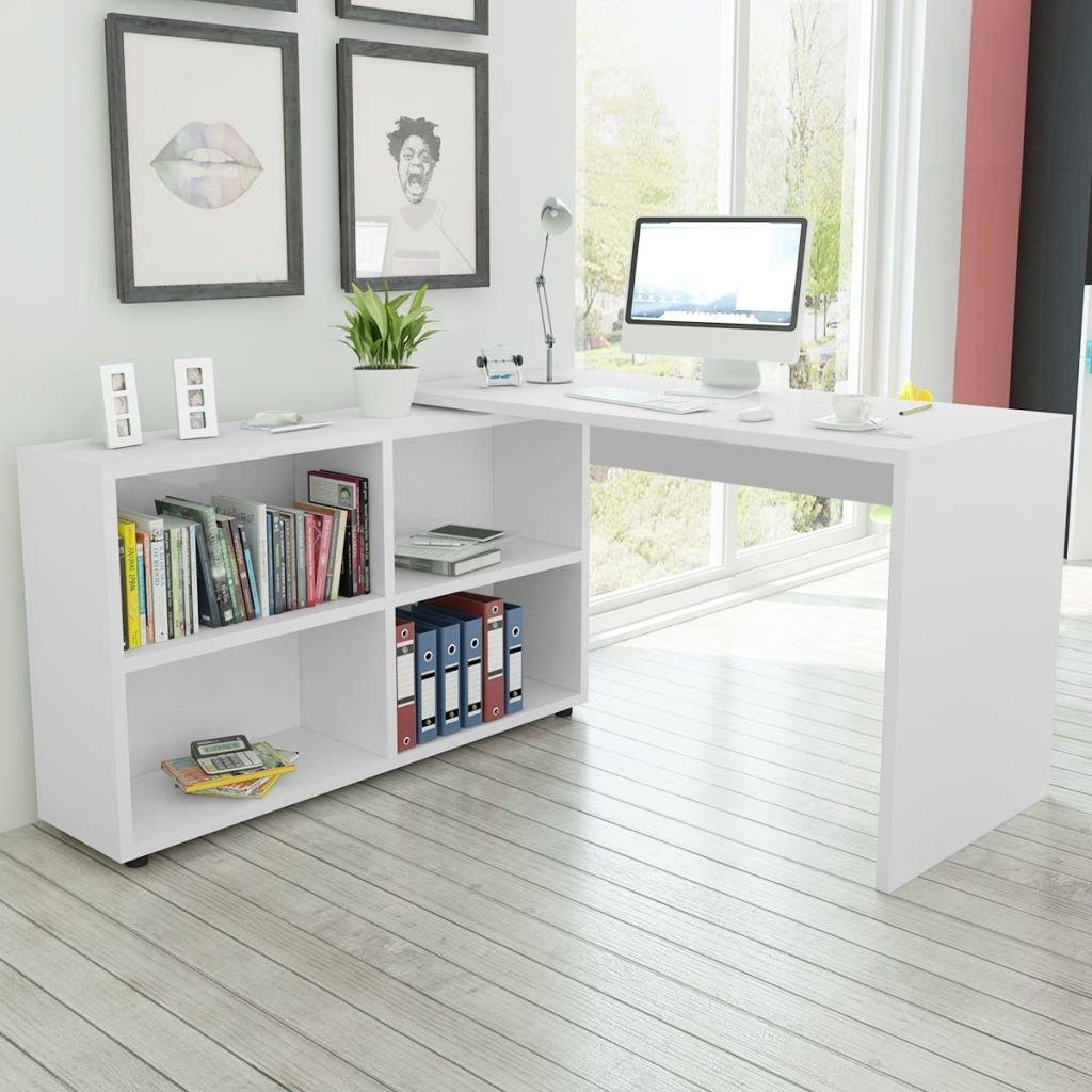 Vidaxl Escritorio De Esquina Con 4 Estantes Color Blanco De Madera  # Muebles Dash Juveniles