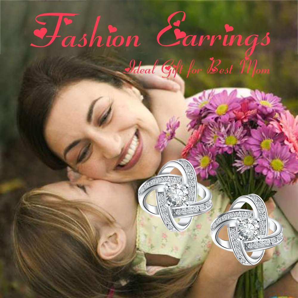 Gagafeel S925 Sterling Silver Women Girls Gemini Earring Set Wedding Party White Cubic Zirconia Stud Earrings Love Gift (Stud Earrings)