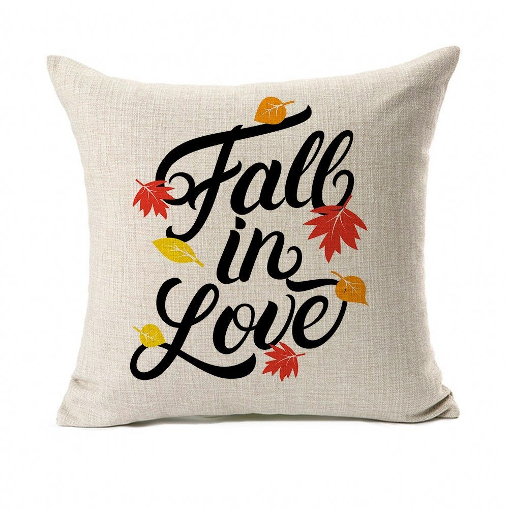 Fall Quotes Throw Pillow Case Autumn Leaf Cushion Cover Cotton Linen 18'' x 18'' Set of 2(Fall In Love & Hello Fall) by Micropillow (Image #2)