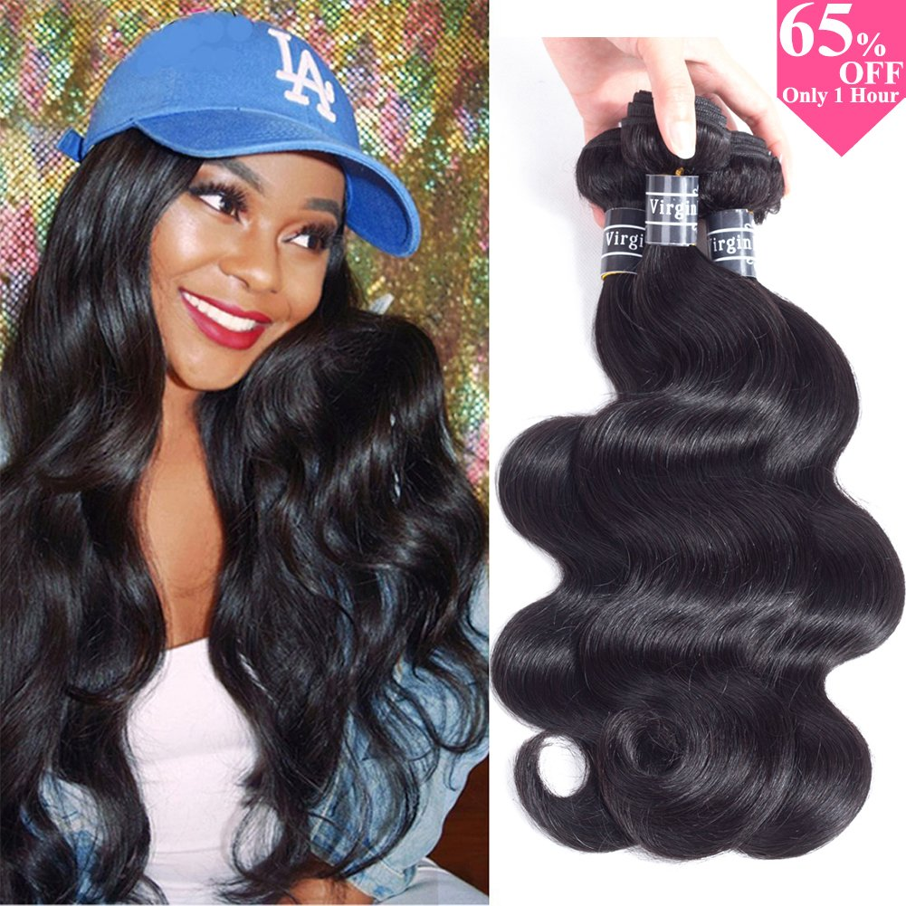 "10A Brazilian Virgin Body Wave Hair 3 Bundles 300g 14"" 16"" 18"" Natural Black Color 100% Unprocessed Brazilian Virgin Human Hair Extensions Body Wave Hair"