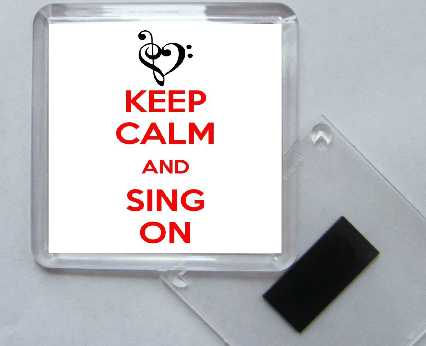 Keep Calm and Sing On Square Acrylic Fridge Magnet
