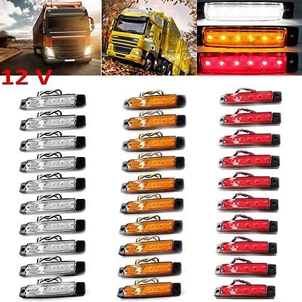Voiture 10x Ambre 6 DEL SIDE MARKER LIGHTS Indicators lampe pour camion remorque autobus