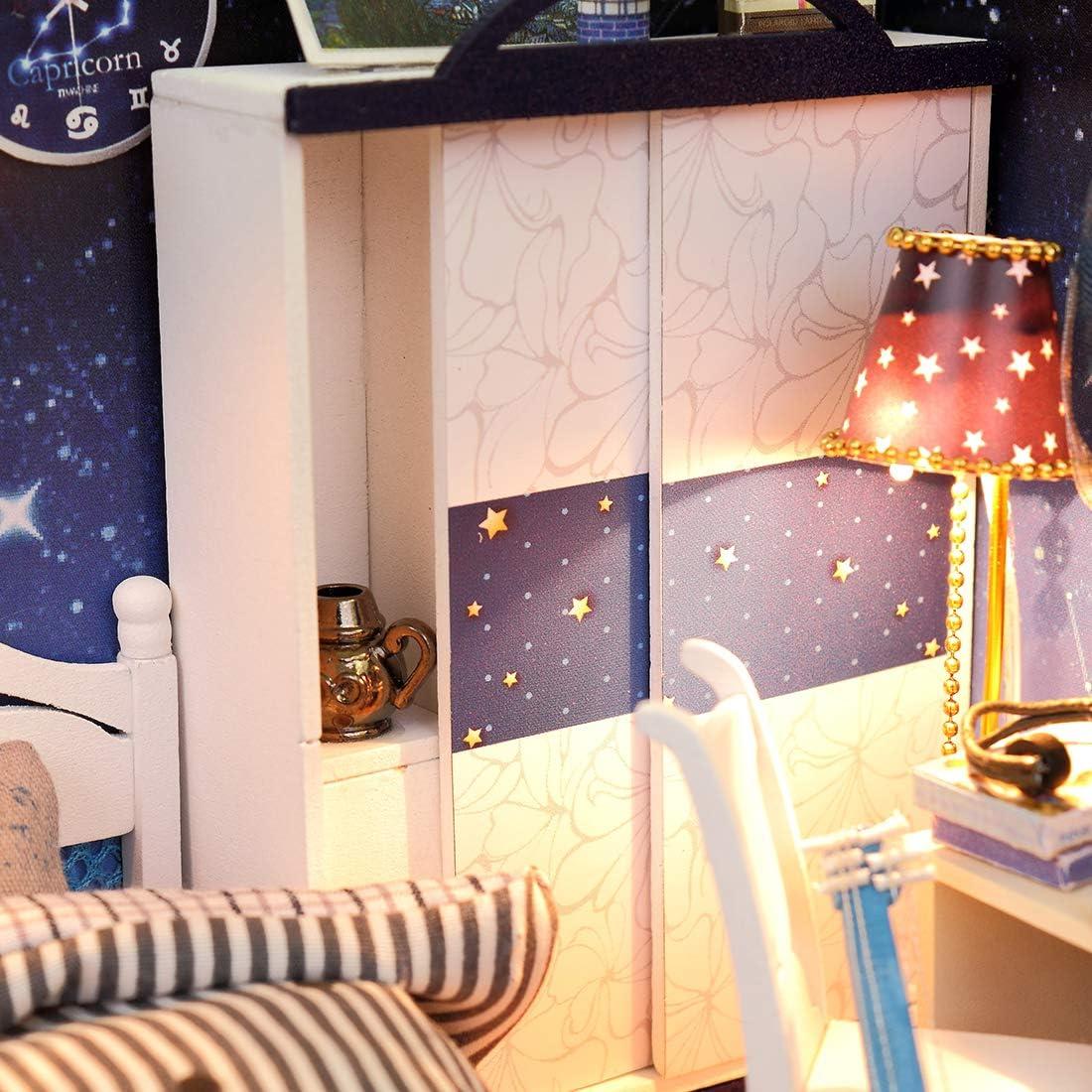 OVERWELL DIY Puppenhaus Kits Modell Musik und Staubdichte Abdeckung Puppenhaus Miniatur Puppenh/äuse M/öbeln DIY Dollhouse Kinder Geschenk mit Led Licht