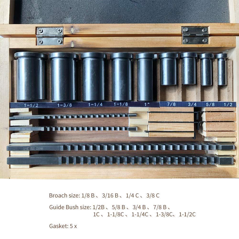1//4C 3//16B Keyway Broach Set 30pcs HSS Keyway Cutting Tool for Lathe Inch Sizes 1//8B 3//8C 5//16C Broaches with 18pcs Bushings and 7pcs Shims