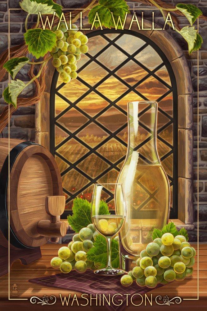 Walla Walla, Washington - Chardonnay (12x18 Art Print, Wall Decor Travel Poster)