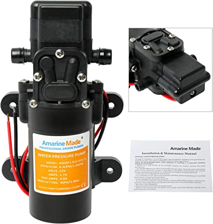 SEAFLO Marine Boat 12V 1.2GPM 35PSI Water Pressure Diaphragm Self Priming Pump