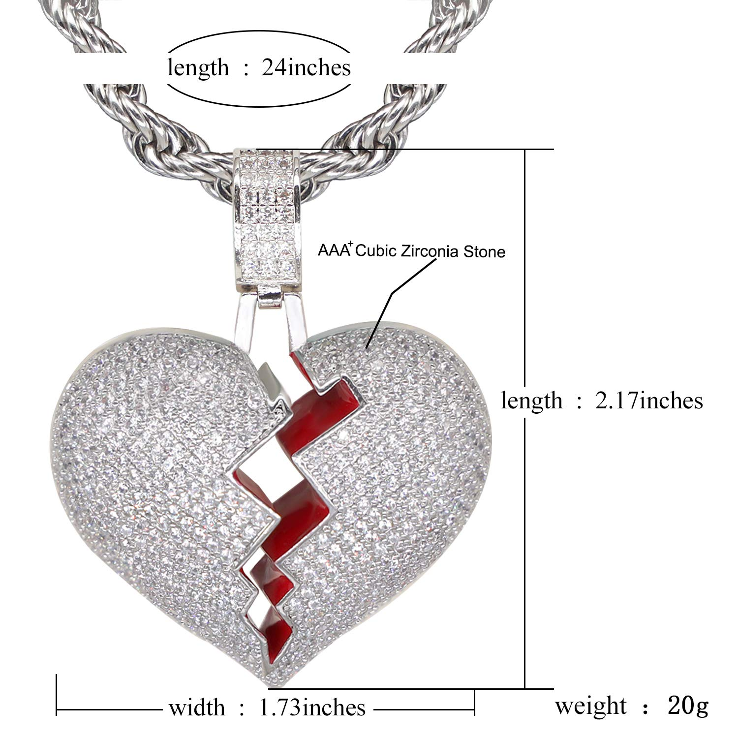 TSANLY Broken Heart Pendant Necklace Hip Hop CZ Fully Iced Out Bling CZ Diamond 24K White Gold Plated with 24 Stainless Rope Chain