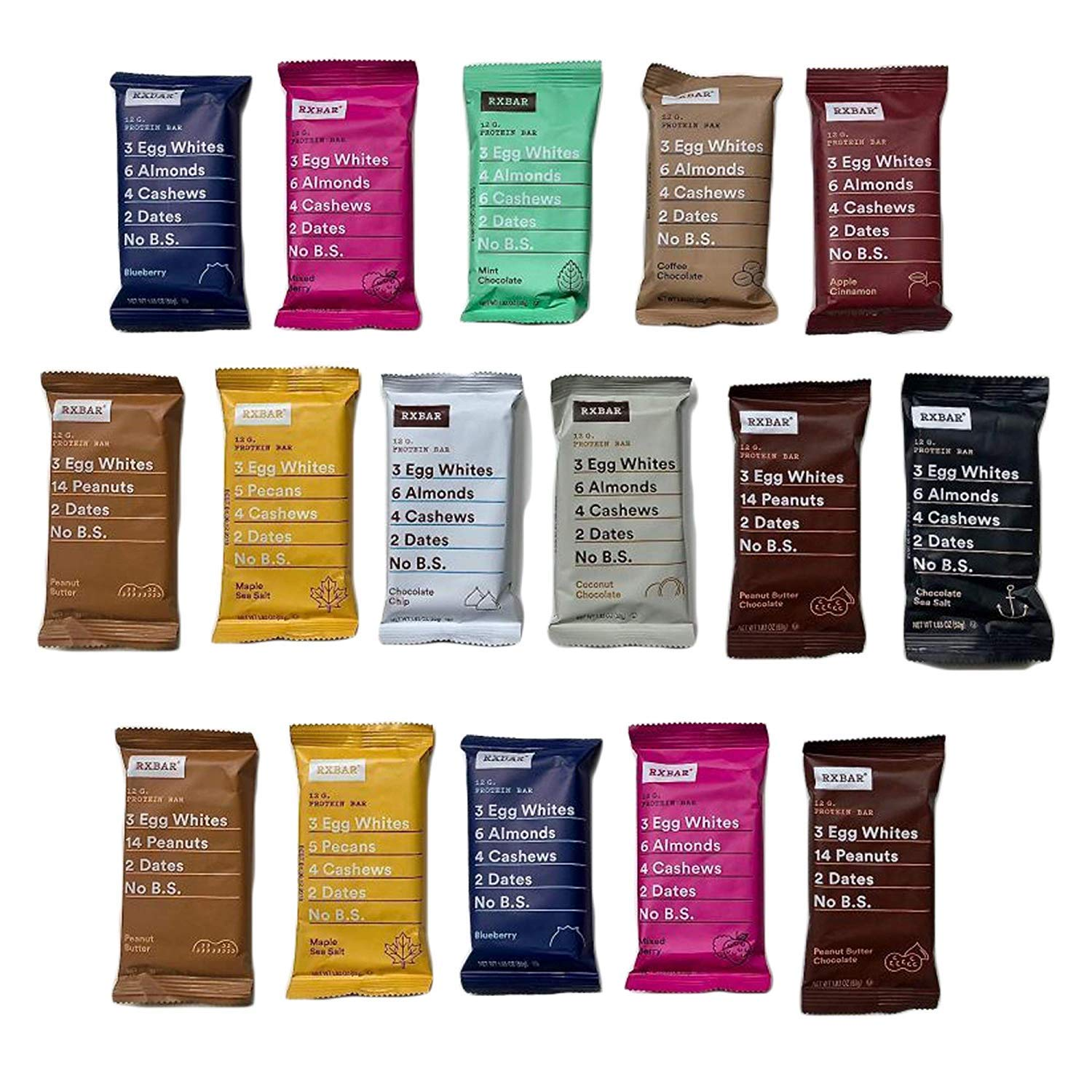 RXBAR Real Food Protein Bar, Variety Pack, Gluten Free, 1.83oz Bars, 32 Count by RXBARS VARIETY PACK