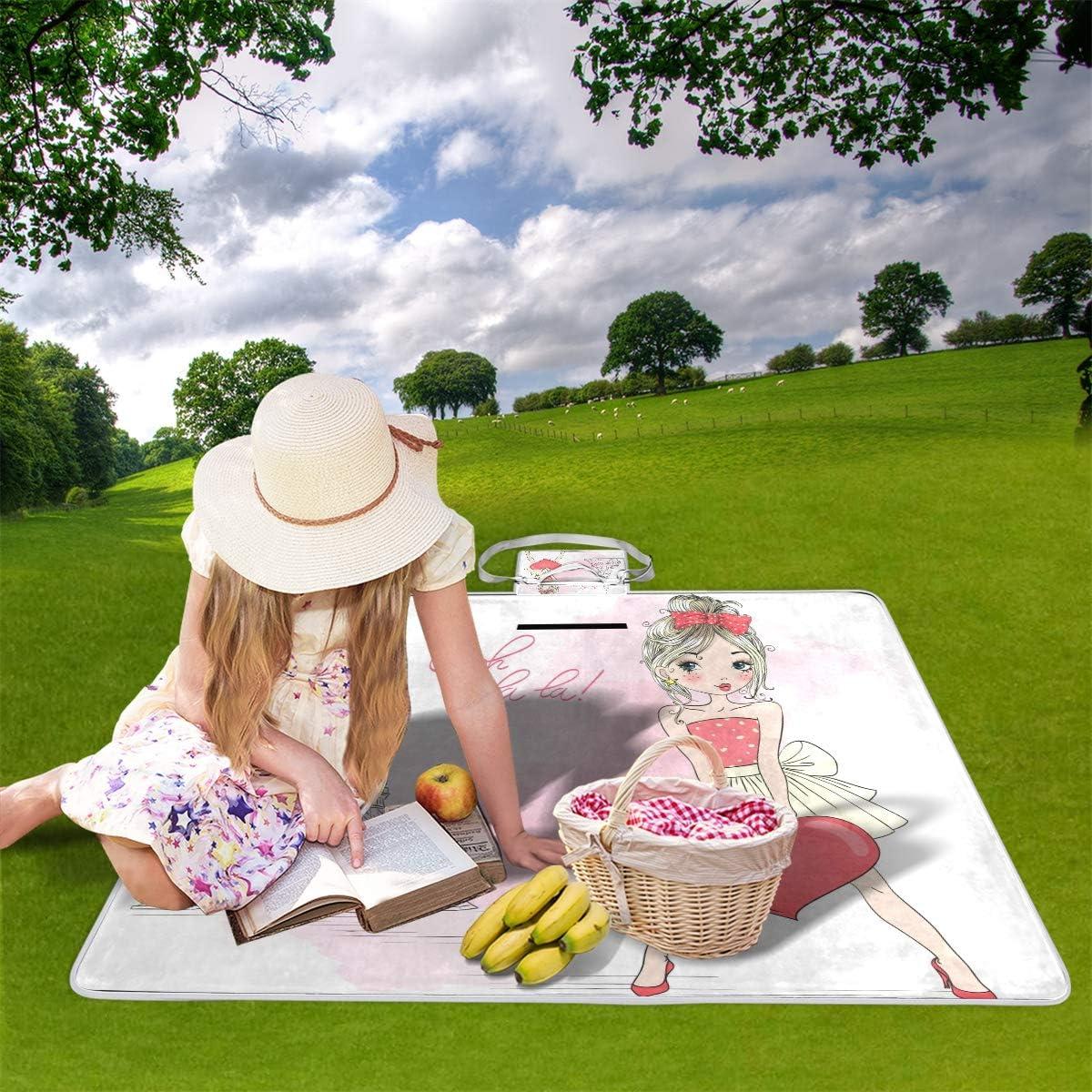 GEEVOSUN Couverture de Pique-Nique,Fille d'été Mignon Belle dessiné à la Main,Tapis Idéale pour Plage Jardin Parc Camping,145 * 150cm 9