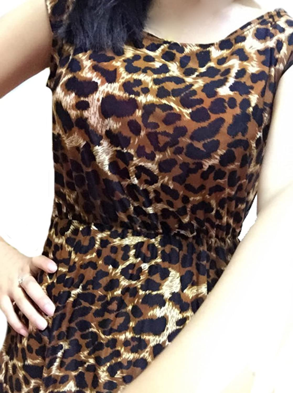 ASL Women Girl Sexy Leopard Lattice Crew Neck Sleeveless Dress
