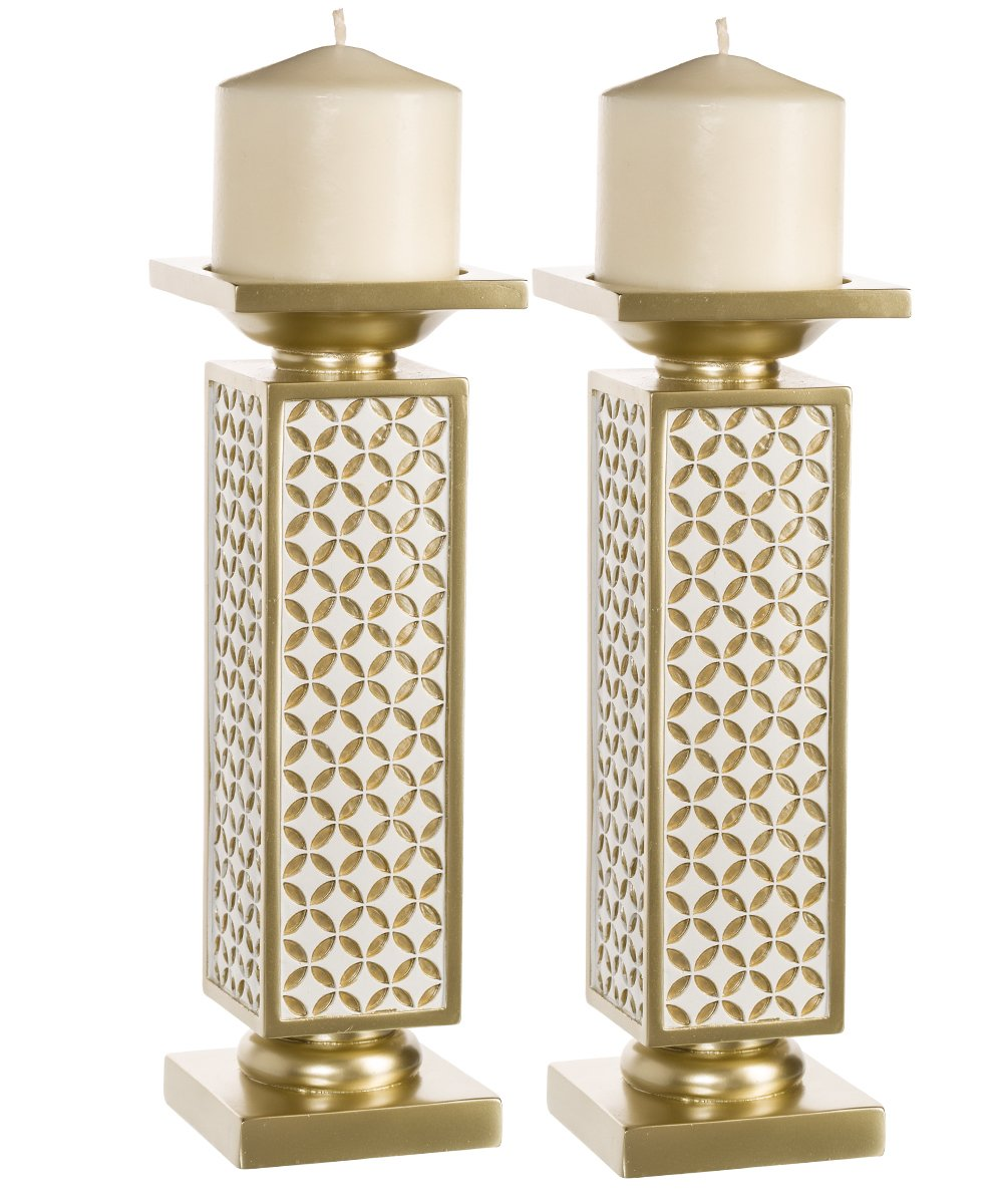 Amazon Schonwerk Diamond Lattice Decorative Pillar Candle Holders Set Of 2 Functional Table Decorations Centerpieces For Dining Living Room Best