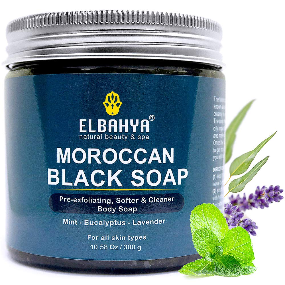 Elbahya 2 in 1 Moroccan Black Soap - Plus Kessa Exfoliating Body Mitt Scrubber, Organic Pre-exfoliating Soap, Cleanse and Prepare Skin for Removing Dead Skin Cells Layers, for Deep Clean and Soft Skin