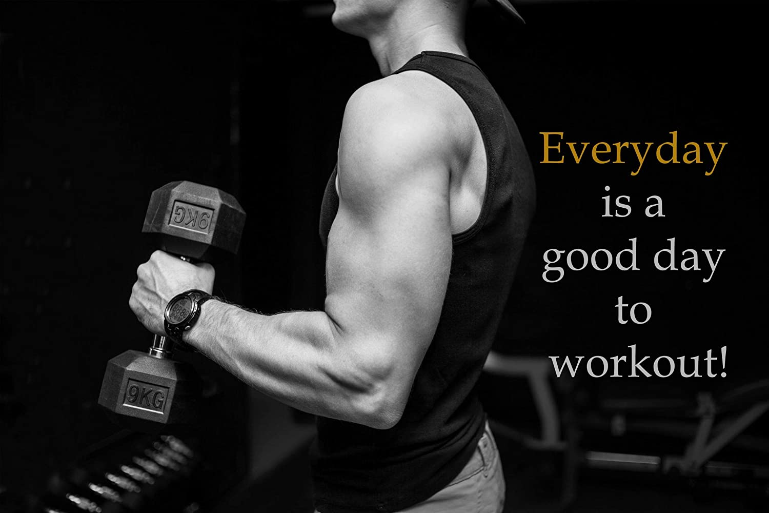 Ezposterprints Bodybuilding Men Girl Fitness Workout Quotes Motivational Inspirational Muscle Gym Posters Wall Art Print For Home Office Gym Motivation Quote 1 36x24 Inches Amazon In Home Kitchen